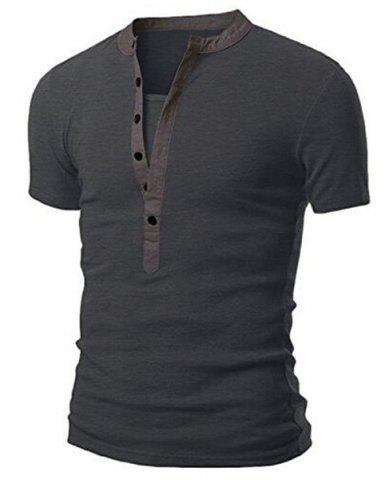 Shop Stand Collar Splicing Design Short Sleeve T-Shirt For Men