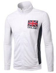 Stand Collar England Flag and Letter Embroidered Long Sleeve Jacket For Men -