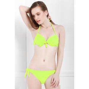 Halter Self-Tie Solid Color Women's Bikini Set