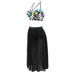 Plus Size Floral Mesh Skirted Swimwear -
