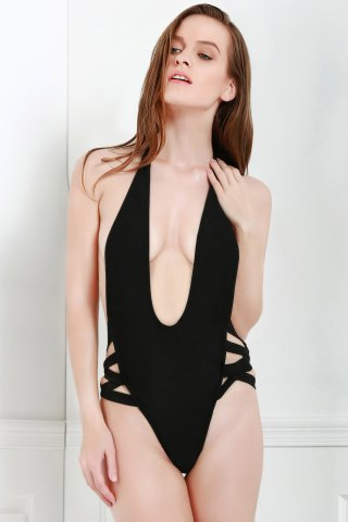 Womens Sexy Style Halter Solid Color Openwork One-Piece Swimwear For Women