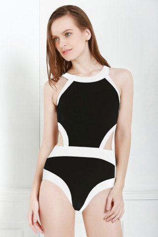 Stylish Round Neck Sleeveless Black and White One-Piece Women's Swimwear