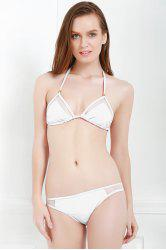 Sexy Style Solid Color Voile Splicing Tie-Up Divided Type Swimwear For Women -