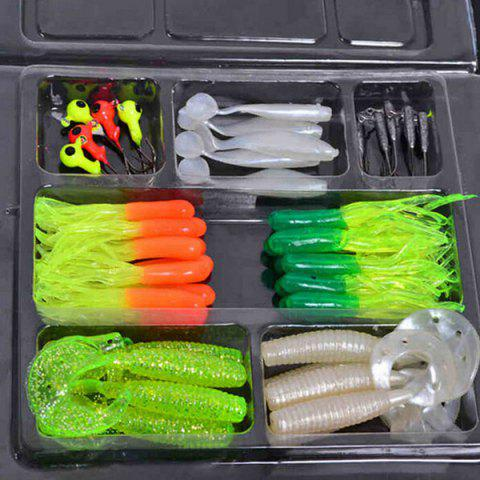 Vente chaude 35 PCS Worm souple Bait Lure 10 PCS Lead Crochets tête Combinaison Set Multicolore