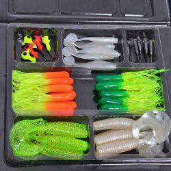 Vente chaude 35 PCS Worm souple Bait Lure 10 PCS Lead Crochets tête Combinaison Set - Multicolore