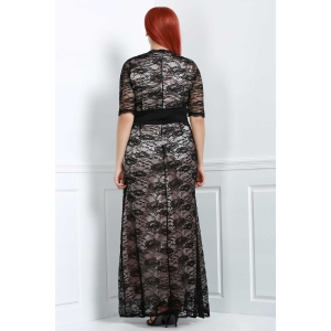 Maxi Plus Size Lace Formal Dress with Sleeves -