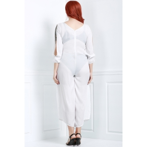 V Neck Long Sleeve Plus Size Jumpsuit -