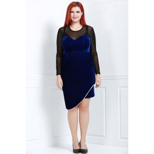 Sexy Round Neck Long Sleeve See-Through Women's Plus Size  Dress -