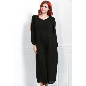 V Neck Long Sleeve Plus Size Jumpsuit - BLACK 2XL