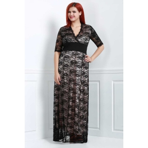 Maxi Plus Size Lace Formal Dress with Sleeves - Black - 2xl