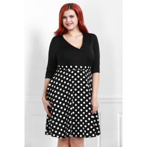 V Neck Half Sleeve Polka Dot Skater Dress - BLACK XL