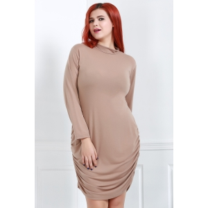 Turtle Neck Long Sleeve Plus Size Ruched Dress -