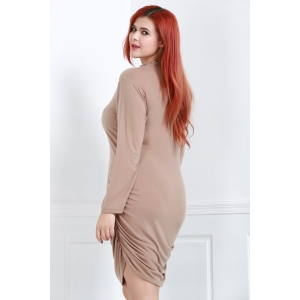 Turtle Neck Long Sleeve Plus Size Ruched Dress - BROWN 5XL