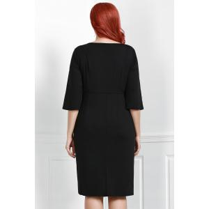 Noble Sweetheart Neck 3/4 Sleeve Black Bodycon Women's Dress - BLACK 2XL