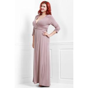 Floor Length Plus Size Empire Waist Surplice Formal Prom Dress -