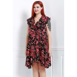 Graceful V-Neck Sleeveless Chiffon Tiny Floral Print Dress For Women -