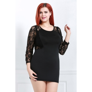 Sexy Scoop Neck Long Sleeve Flower Pattern See-Through Women's Dress - BLACK 2XL