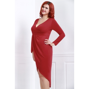 Sexy Plunging Neck Solid Color High-Low Hem Plus Size Long Sleeve Dress For Women -