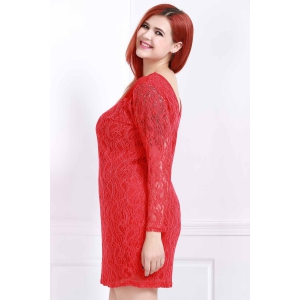 Stylish Scoop Neck 3/4 Sleeve Solid Color Plus Size Women's Lace Dress -