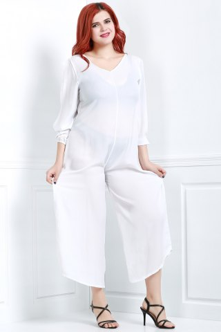Unique V Neck Long Sleeve Plus Size Jumpsuit - M WHITE Mobile