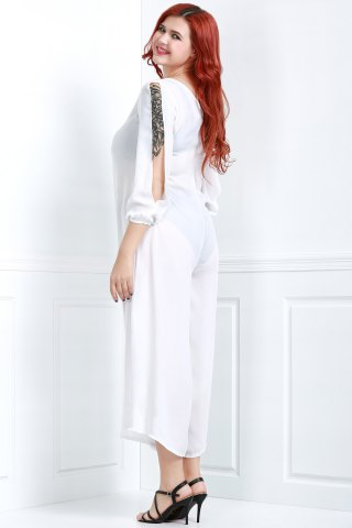 Discount V Neck Long Sleeve Plus Size Jumpsuit - M WHITE Mobile