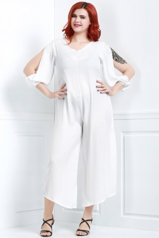 Unique V Neck Long Sleeve Plus Size Jumpsuit - L WHITE Mobile