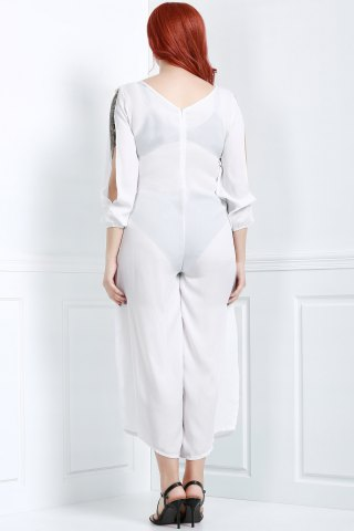 New V Neck Long Sleeve Plus Size Jumpsuit - L WHITE Mobile