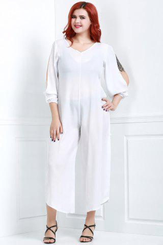 Discount V Neck Long Sleeve Plus Size Jumpsuit - L WHITE Mobile