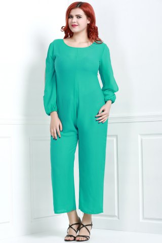 Store V Neck Long Sleeve Plus Size Jumpsuit - L GREEN Mobile