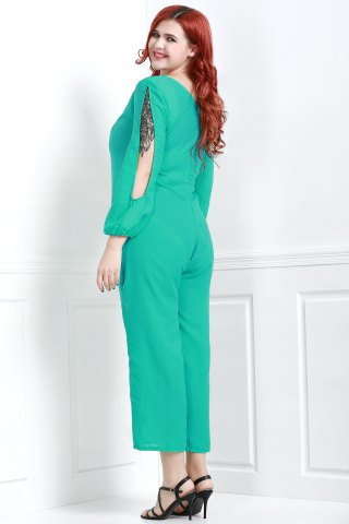Outfit V Neck Long Sleeve Plus Size Jumpsuit - L GREEN Mobile