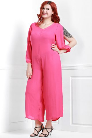 Outfit V Neck Long Sleeve Plus Size Jumpsuit - XL ROSE Mobile