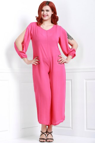 Outfit V Neck Long Sleeve Plus Size Jumpsuit - 3XL ROSE Mobile