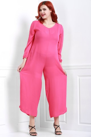 Chic V Neck Long Sleeve Plus Size Jumpsuit - 3XL ROSE Mobile