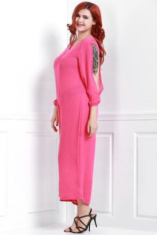 Outfits V Neck Long Sleeve Plus Size Jumpsuit - 3XL ROSE Mobile