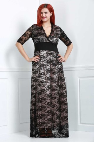 Maxi Plus Size Lace Formal Dress with Sleeves - Black - 4xl