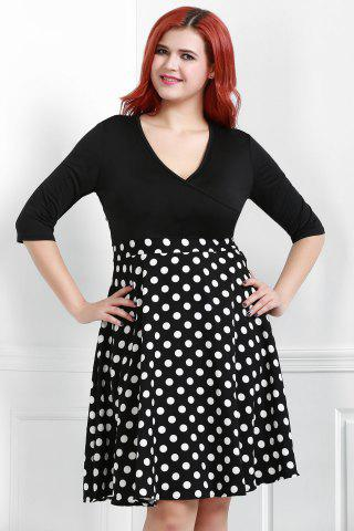V Neck Half Sleeve Polka Dot Skater Dress