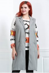 Turn-Down Collar Sleeveless Side Slit Long Waistcoat - LIGHT GRAY