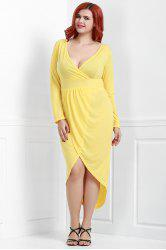 Chic V-Neck Long Sleeve Solid Color Wrap Dress For Women -