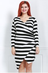 Sexy Plunging Neck Long Sleeve Striped Plus Size Women's Dress