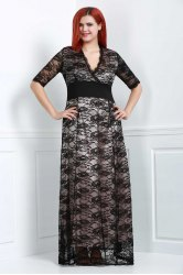 Maxi Plus Size Lace Formal Dress with Sleeves - BLACK 4XL