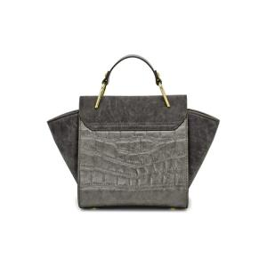 Trendy Metal and Splicing Design Tote Bag For Women - DEEP GRAY