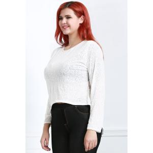 Long Sleeve Lace Trim Sheer T-Shirt - OFF WHITE L