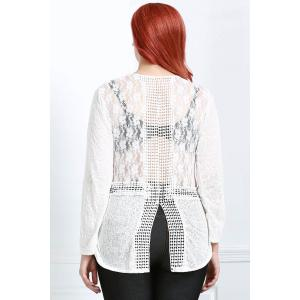 Long Sleeve Lace Trim Sheer T-Shirt - OFF-WHITE L