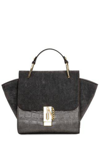 Hot Trendy Metal and Splicing Design Tote Bag For Women DEEP GRAY