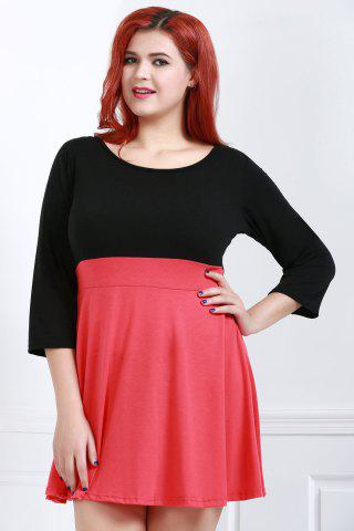 Outfits Fashionable Scoop Neck Color Block Plus Size 3/4 Sleeve Dress For Women