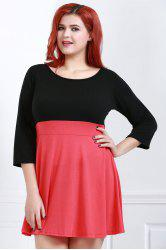 Fashionable Scoop Neck Color Block Plus Size 3/4 Sleeve Dress For Women -