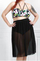 Plus Size Floral Mesh Skirted Swimwear