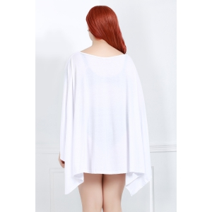 Asymmetric Loose Tunic Casual Dress - WHITE 3XL