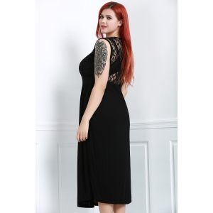 Lace Panel Plus Size Night Out Dress with Slit -
