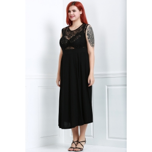 Lace Panel Plus Size Night Out Dress with Slit - BLACK XL